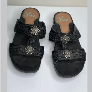 "Yuu ""Justene"" black wedge sandals shoes"